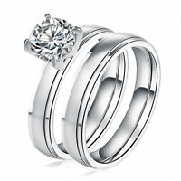 Round CZ Stainless Steel Ring Set Couple Wedding Band Size 5-10