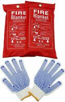 2 Pack Fire Blanket (39 x 39 in) Emergency Survival Fire Cover and 1 Free Gloves