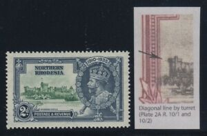 """Northern Rhodesia, SG 19f, MHR """"Diagonal Line by Turret"""" variety"""