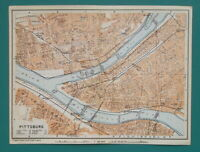 "PITTSBURGH Town Plan Pennsylvania - 1909 MAP Baedeker 6 x 8"" (15 x 20 cm)"