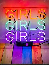 "New Girls Girls Girls Acrylic Neon Light Sign 14""x10"" Lamps Homemade Display"