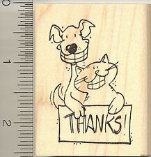 Thank you Pets Dog Cat rubber stamp H10301 wood mounted