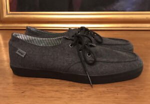 Reef Men's Canvas Deckhand 2 Lace Up Casual Shoes Size 8 Gray Charcoal Flannel