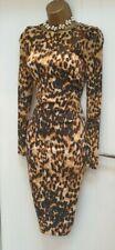 KAREN MILLEN LEOPARD PRINT LONG SLEEVE DRESS - 38/40