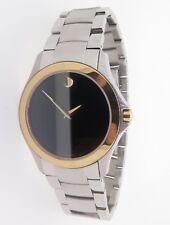 .Movado Museum Black Dial Mens Steel & Gold Slim Line Wrist Watch