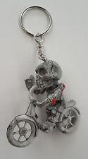 Rubber Keychain Keyring Skeleton Bicycle Skull Harley Goth