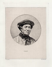 "Great FRAMED Original 1800s HENRI GRENAUD Etching ""Portrait of Corot"" SIGNED COA"
