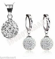 New 925 Sterling Silver Girl Lady Gift Jewelry Cubic Zircon Necklace Earring