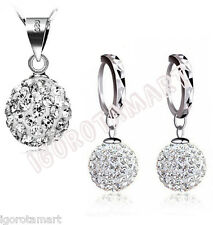925 Sterling Silver Girl Lady Gift Set Jewelry Cubic Zircon Necklace Earring UK