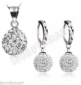 925 Sterling Silver Gift Set Jewelry Cubic Zircon Necklace Earring Girls Womens
