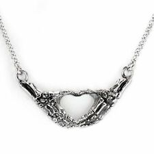 Necklace Hands Skeleton Heart Love Bones Gothic Collier Mains Squelette Gothique