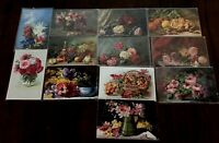 Lot of 13 Still Life ~Art Flowers~Florals~Vintage~Greetings Postcards-g152