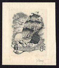 38)Nr.045- EXLIBRIS- PF- FR. Bange, 1935, signiert, C3 - Radierung