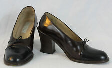 Womens BARNEYS NEW YORK Brown Leather Bow Chunky Heel MADE IN ITALY 36.5 US 5.5