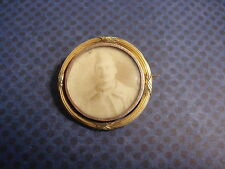 BROCHE ancienne OR 18k PORTE PHOTO Militaire - LOCKET Brooch Picture Frame WW1