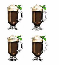 4x Irish Coffee Latte Mug Glass Glasses 8oz Tea Chocolate Cappucino Hot Drink