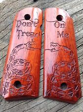 1911 Grips Laser engraved Don't Tread on Me Snake Padauk Officer/Compact Size