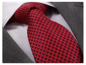 ITALIAN DESIGNER Milano Exclusive RED & BLACK CHECK SILK TIE