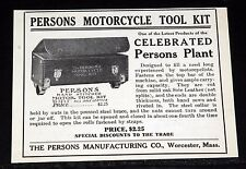 1908 OLD MAGAZINE PRINT AD, PERSONS MOTORCYCLE TOOL KIT, HAND STITCHED LEATHER!