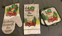 CHRISTMAS HOUSE KITCHEN 4pc Set POT HOLDERS,TOWEL & OVEN MITT Xmas Gift Decor