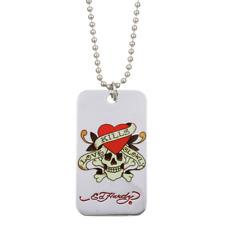 ED HARDY Necklace LOVE KILLS SLOWLY Dog Tag Skeleton Heart NEW w Bag SS