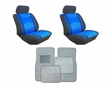Mesh Blue & Black Seat Covers with Silver Carpet floor Mats for Cars SUVS- Combo