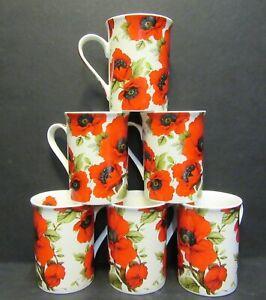 Set Of 1x/2x/4x/6x DATA Red Poppy Fine Bone China Mugs Panama Shape 10 Fl oz
