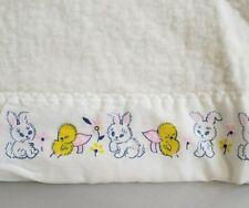 Vintage White Baby Blanket Baby Bunny Chick Trim