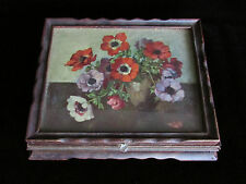 Pansies Mirror Wood Box Jewelry Purfume Makeup Storage Flower Victorian Unique