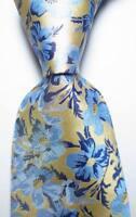 New Classic Floral Blue Beige JACQUARD WOVEN 100% Silk Men's Tie Necktie
