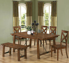 NEW 6PC FREDERICK COUNTRY RUSTIC OAK FINISH WOOD PANEL DINING TABLE SET W/  BENCH