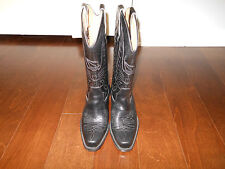 NAVAJOS WESTERN COWBOY Leather Boots Size 6.5 - 7 US 37 EUR Black Made In Italy