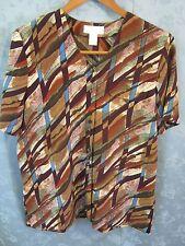 Vintage Vtg 80's Christie & Jill Blouse Size Medium Oversized Shirt Tunic Top