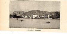Stampa antica BARDOLINO veduta panoramica Lago di Garda Verona 1910 Old print