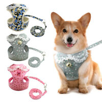 Pink Grey Soft Breathable Mesh Pet Harness & Lead for Small Dogs Puppy Cat Vest