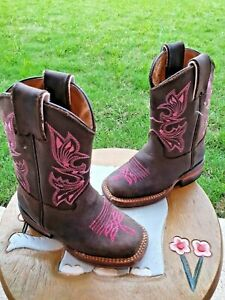 Cowgirl Boots Brown Leather/Pink Girls' Toddler 7C