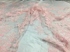 Antique Flower Design Mesh Lace Fabric Bridal Wedding Light Pink. Sold By Yard