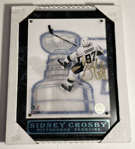 Sidney Crosby Autographed Hand Signed Pittsburgh Penguins Plaque.