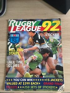 1992 SELECT RUGBY LEAGUE STICKERS & ALBUM -  ALMOST COMPLETE  SET AUTOGRAPHS