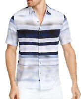 Alfani Mens Shirt Classic Blue Size XL Geometric Print Button Down $55  373