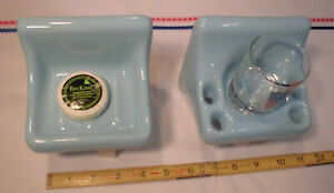 Sky Blue; Sink Set, Glossy Ceramic Soap Dish + Cup & Toothbrush Holder  Mint