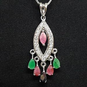 1.70ctw Ruby, Emerald, Sapphire & Diamond Cut White Sapphire 925 Silver Pendant