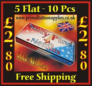 Sexy PinsTattoo Needles 5 Flat -   Box of 10  - (Tattoo Supplies - Grips - Tips)