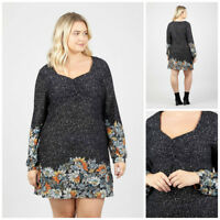 IZABEL CURVE POLKA DOT LONG SLEEVE FLORAL CUFFS SWEETHEART DRESS RRP £30.00