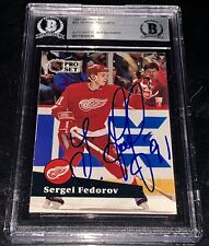 Proset Sergei Federov Signed Autograph Red Wings NHL Hockey Beckett Authentic