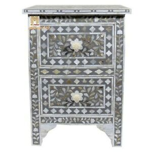 Mother of pearl inlay floral 2 drawer bedside in grey color home décor with insu