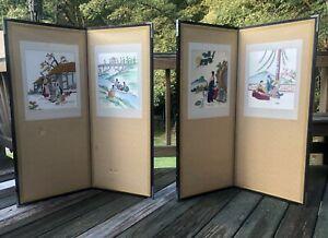VintageKorean Folding Screens Silk Embroidered 39 1/2 H x 34 1/4 W Wang Brand!