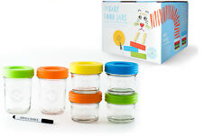 6 * Baby Glass Food Storage Container/Jars-Mwave/Freezer Safe + Portion Control