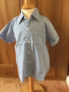 Boys Blue Check Short Sleeved Cotton Shirt - New Without Tags