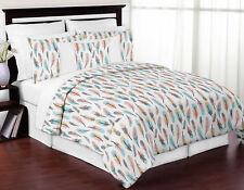 Sweet Jojo Gray Aqua Coral Feather Girls Teen Queen Full Comforter Bedding Set